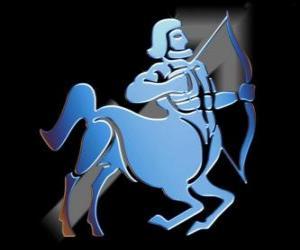 Układanka Strzelec. Centaura, łucznika. Dziewiąty znak zodiaku. Łacińska nazwa jest Sagittarius