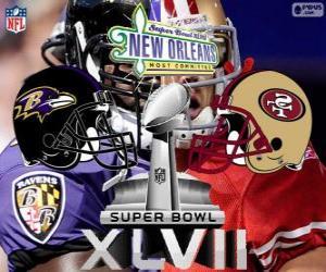 Układanka Super Bowl 2013. San Francisco 49ers vs Baltimore Ravens. Superdome, Nowym Orleanie