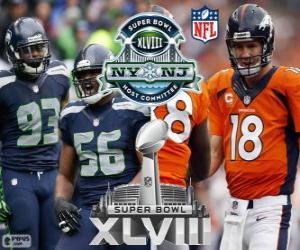 Układanka Super Bowl 2014. Seattle Seahawks vs Denver Broncos. MetLife Stadium w New Jersey, na 2 lutego 2014