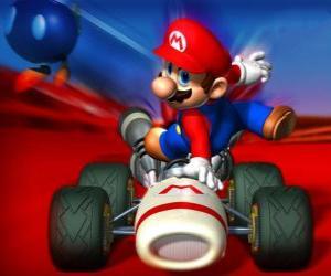 Układanka Super Mario Kart jest gra wyścigowa
