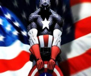 Układanka Superbohater Captain America jest patriotyczne i ekspert w walce wręcz