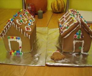 Układanka Sweet i piękna ozdoba, dwa domy z piernika