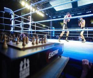 Układanka Szachowy boks jest sportem, który łączy w hybrydy boksu w szachy na przemian rund.
