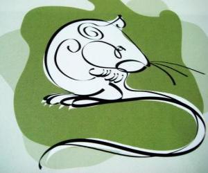 Układanka Szczur, znak Szczur, Rok Szczura. Pierwszy znak dwunastu zwierząt Horoskop chiński