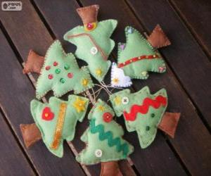 Układanka Sześć małych drzew świąt Bożego Narodzenia
