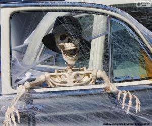 Układanka Szkielet w samochodzie, Halloween