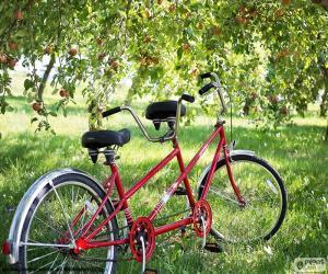 Układanka Tandem dwóch rowerzystów