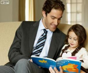Układanka Tata pomaga czytanie jego córka