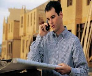 Układanka Technik konsultacji samolotu prace budowlane - Architekt, budowniczy majster, inspektor ilości lub inżyniera