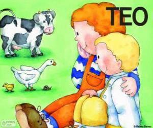 Układanka Teo i jego siostra Klara ze zwierzętami