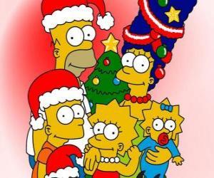 Układanka The Simpsons życząc Wesołych Świąt