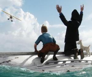 Układanka Tintin, kapitan Baryłka i Miluś na łodzi po tym rozbitkowie