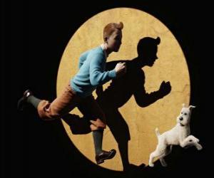 Układanka Tintin z jego pies Miluś pracy