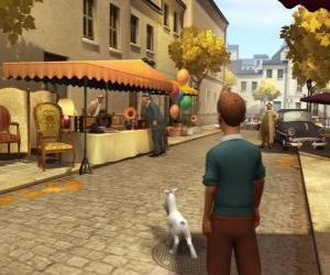 Układanka Tintin z jego pies Miluś idąc ulicą