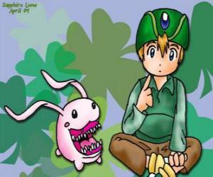 Układanka TK i jego Digimon Tokomon, Takeru Takaishi jest najmłodszy z grupy, a młodszy brat Matt
