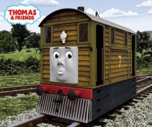 Układanka Tobik to brązowa lokomotywa tramwajowa nr. 7