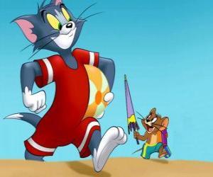 Układanka Tom i Jerry na plaży