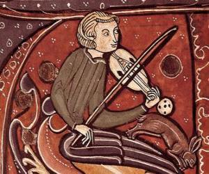 Układanka Trubadurzy lub wędrowny minstrel, singer-songwriter poeta lub artysta rozrywkowy w średniowieczu w Europie