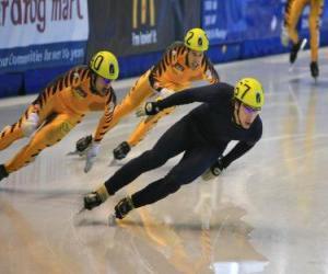 Układanka Trzy łyżwiarze w łyżwiarstwie szybkim wyścigu