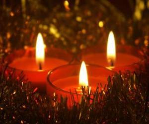 Układanka Trzy świece świąteczne z knot