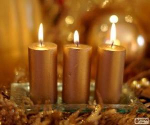 Układanka Trzy świece złote Boże Narodzenie