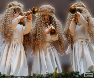 Układanka Trzy anioły gra na trąbce