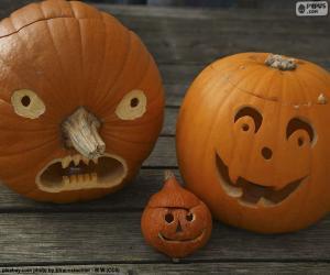 Układanka Trzy Halloweenowych dyń