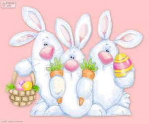 Układanka Trzy króliki Wielkanoc