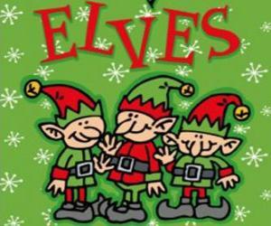 Układanka Trzy małe elfy Świętego Mikołaja