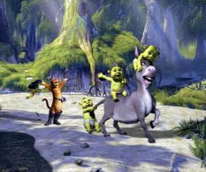 Układanka Trzy małe gry, z Osioł i Kot w butach