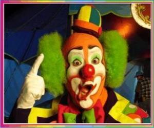 Układanka Twarz klauna z perukę, kapelusz i nos i usta mistrzów