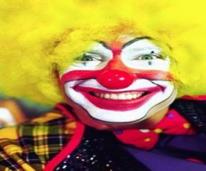 Układanka Twarz z nosem klauna perukę i wielkich i usta