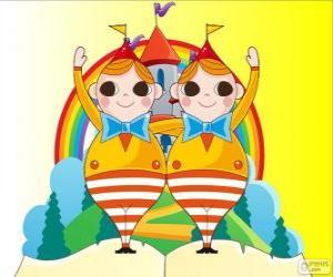 Układanka Tweedledee i Tweedledum, dwóch młodych bliźniaki