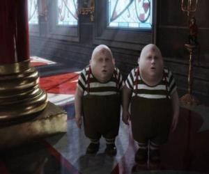 Układanka Tweedledee i Tweedledum lub Tarari i Tarara chubby bliźniaków, którzy zawsze są walki między sobą
