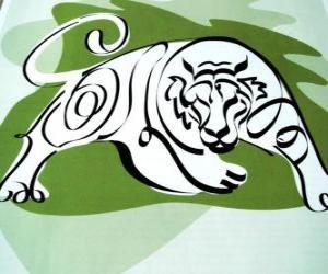 Układanka Tygrys, znak tygrysa, Rok Tygrysa. Trzeci znak dwunastu zwierząt chińskiego zodiaku