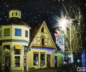 Układanka Ulica z Boże Narodzenie światła