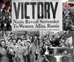 Układanka Upamiętnienie zwycięstwo aliantów nad nazizmem i koniec II wojny światowej. Dzień Zwycięstwa, 08 maja 1945