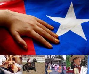 Układanka Uroczystości patriotyczne w Chile. XVIII w dniach 18 i 19 września w obchody Chile jako niepodległe państwo