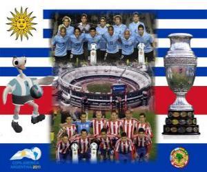 Układanka Urugwaj vs Paragwaj. Finał Copa America Argentyna 2011 roku. 24 lipca Stadion Monumental w Buenos Aires