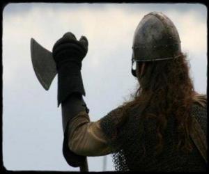Układanka Viking oglądania uzbrojony w topór