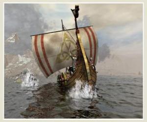 Układanka Viking statku lub longship żeglować obrzęk przez wiatr
