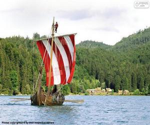 Układanka Viking wioślarze łódź