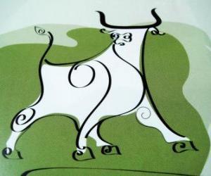 Układanka Wół, znakiem bawołu, Rok Wołu. Drugie zwierzę z chińskiego zodiaku