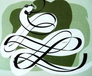 Układanka Wąż, znak Wąż, Rok Węża. Szósty z chińskich znaków horoskopu