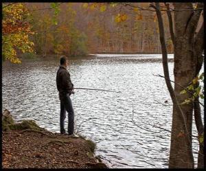Układanka Wędkowanie - Rybacka w akcji rzeki zalesiony krajobraz