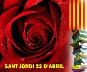 Układanka W dniu 23 kwietnia, Dzień Świętego Jerzego jest obchodzony w Katalonii, na Festiwalu Książki i róża
