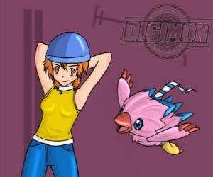 Układanka w Sora z jej digimon Biyomon. Sora Takenouchi jest najbardziej odpowiedzialny i dojrzały grupy