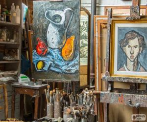 Układanka Warsztat artysta malarz