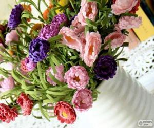 Układanka Wazon duży bukiet kwiatów