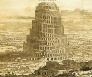 Układanka Wieża Babel, w których ludzie starali się dotrzeć do nieba